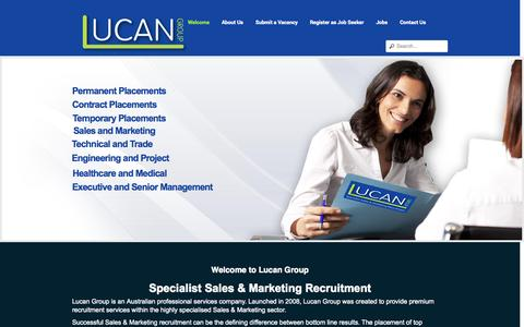 Screenshot of Home Page lucan.com.au - Lucan Group   Specialist Sales & Marketing Recruitment - captured Oct. 3, 2014