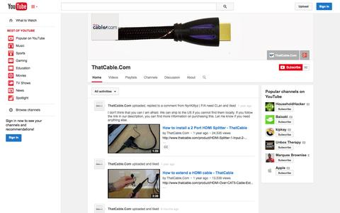 Screenshot of YouTube Page youtube.com - ThatCable.Com  - YouTube - captured Nov. 5, 2014