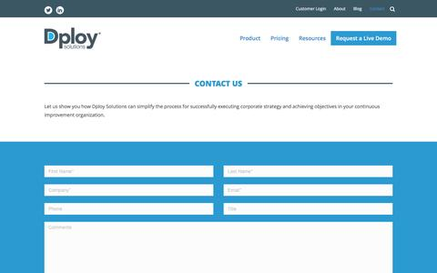 Screenshot of Privacy Page Contact Page dploysolutions.com - Contact Us - Dploy Solutions - captured April 6, 2017