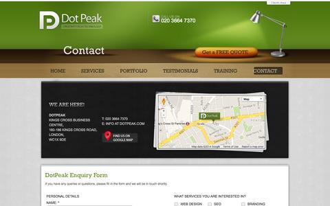 Screenshot of Contact Page dotpeak.com - Contact dotPeak - Website design company based in London WC1 - captured Sept. 19, 2014