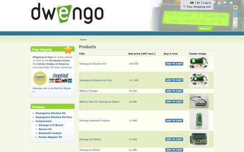 Screenshot of Products Page dwengo.org - Products   Dwengo - captured Nov. 6, 2018