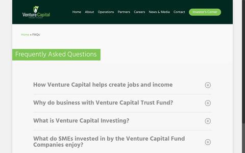 Screenshot of FAQ Page venturecapitalghana.com.gh - FAQs - Ghana Venture Capital Trust Fund - captured Oct. 19, 2018