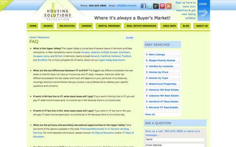 Screenshot of FAQ Page hs-re.com - FAQ | Housing Solutions Real Estate - captured Oct. 3, 2014