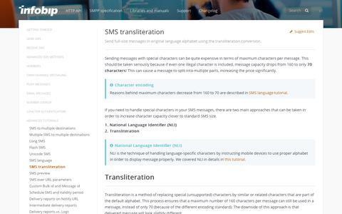 SMS transliteration · SMS API | Infobip