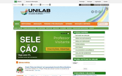 Screenshot of Home Page unilab.edu.br - Unilab | Universidade da Integração Internacional da Lusofonia Afro-Brasileira. - captured Nov. 29, 2018