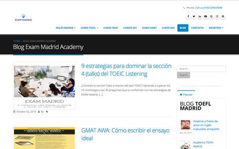Screenshot of Blog ingles-madrid.com - Blog Exam Madrid Academy   EXAM MADRID ACADEMY - captured Oct. 4, 2018