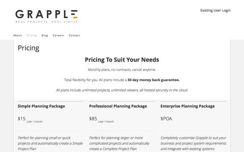 Screenshot of Pricing Page grapple.pm - Grapple Project Management Software Pricing - captured July 4, 2016