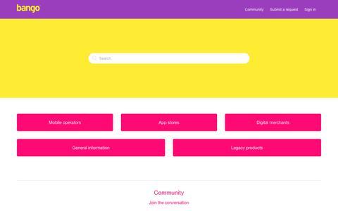 Screenshot of Support Page bango.com - Bango Customer Services - captured Nov. 11, 2016