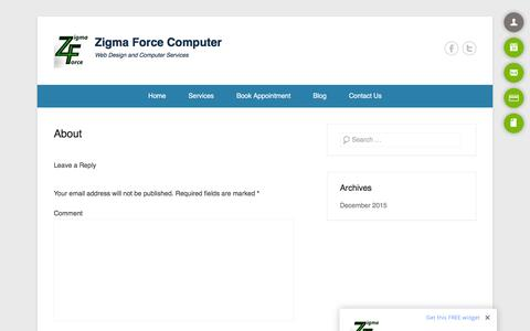 Screenshot of About Page onlysolarenergy.com - About - Zigma Force Computer - captured Feb. 27, 2016