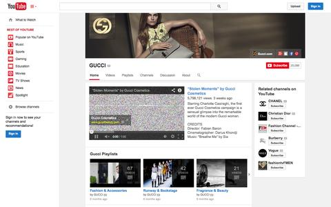 Screenshot of YouTube Page youtube.com - GUCCI  - YouTube - captured Oct. 26, 2014