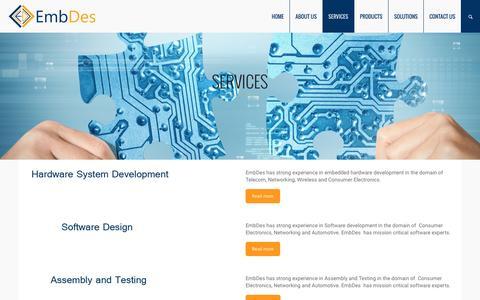 Screenshot of Services Page embdestech.co.in - Services – Embdes - captured Nov. 6, 2016