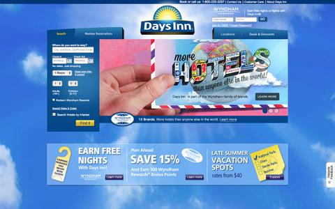 Screenshot of Home Page daysinn.com - Days Inn Hotels | Reservations, Deals, Room Rates & Rewards - captured Sept. 18, 2014