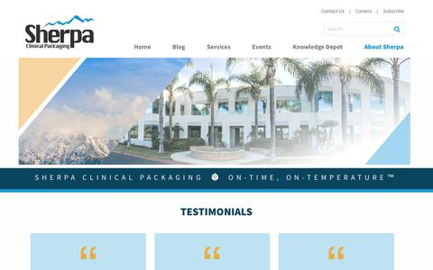 Screenshot of Testimonials Page sherpaclinical.com - Testimonials - Sherpa Clinical - captured Nov. 16, 2017