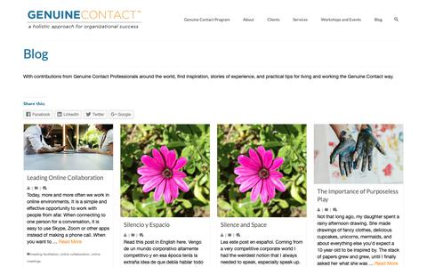 Screenshot of Blog genuinecontact.net - Genuine Contact Blog with contributions from GC Professionals Worldwide - captured Oct. 21, 2018