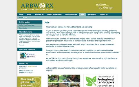 Screenshot of Jobs Page arbworx.com - Jobs » 	Arbworx - captured Feb. 6, 2016