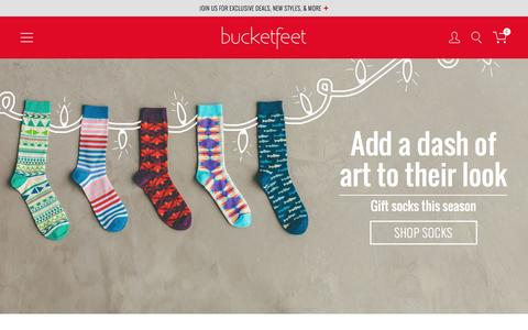 Screenshot of Home Page bucketfeet.com - BucketFeet | Artist Designed Footwear - captured Dec. 4, 2015