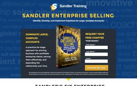 Screenshot of Landing Page sandler.com - Sandler Enterprise Selling - Your Free Chapter - captured April 12, 2016