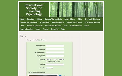 Screenshot of Signup Page isfcp.net - Signup - International Society for Coaching Psychology - captured Feb. 11, 2016