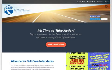Screenshot of Home Page tollfreeinterstates.com - Tolls on interstate highways | Speak Out Against Interstate Tolls - captured Oct. 24, 2018