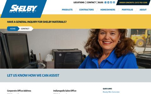 Screenshot of Contact Page shelbymaterials.com - Contact Shelby Materials | Ready Mix Concrete & Aggregate Experts - captured Sept. 21, 2018