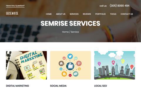 Screenshot of Services Page semrise.com - Services We Offer - SEMRISE - captured July 25, 2018