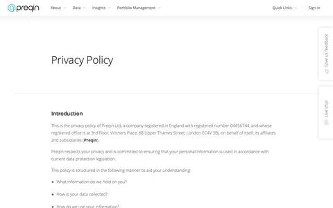 Screenshot of Privacy Page preqin.com - Privacy Policy - Preqin - captured Oct. 18, 2018