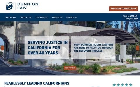 Screenshot of Home Page dunnion.com - California Personal Injury Lawyers - Dunnion Law - captured Oct. 18, 2018