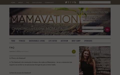 Screenshot of FAQ Page mamavation.com - FAQ — Mamavation - captured Oct. 30, 2014