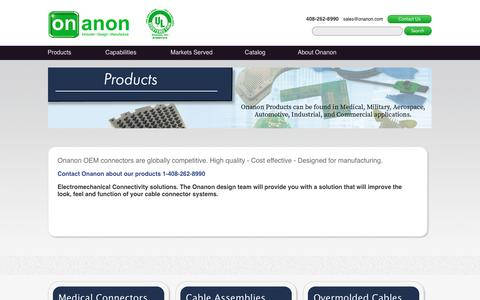 Screenshot of Products Page onanon.com - Onanon Connectors - captured Feb. 16, 2016