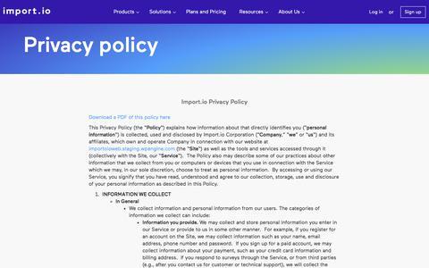 Privacy - import.io