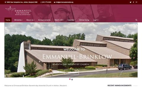 Screenshot of Home Page emmanuelbrinklow.org - Emmanuel-Brinklow Seventh-day Adventist Church | We have a Brighter Hope! - captured Oct. 6, 2014