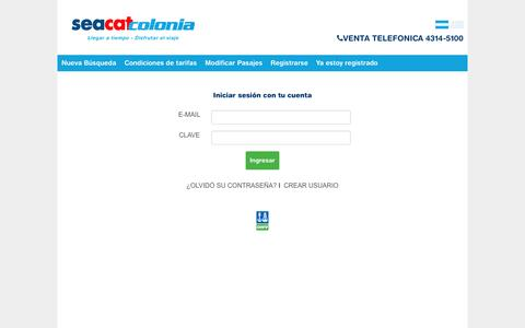 Screenshot of Login Page seacatcolonia.com - Seacat Colonia | Pasajes a Buenos Aires Colonia. Tarifas para Colonia, Uruguay. Viajes a Colonia y Buenos Aires - captured Feb. 29, 2016