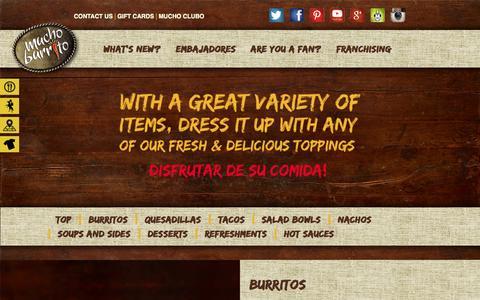 Screenshot of Menu Page muchoburrito.com - Menu | Mucho BurritoMucho Burrito - captured Oct. 26, 2014