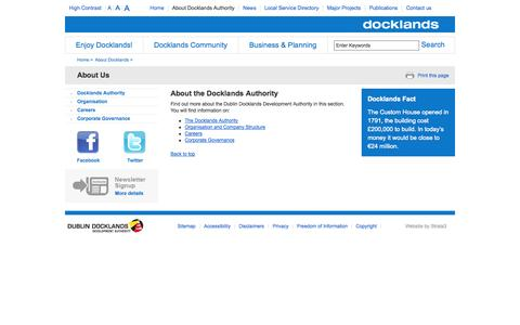 Screenshot of About Page ddda.ie - About the Docklands Authority - Dublin Docklands - captured Oct. 5, 2014
