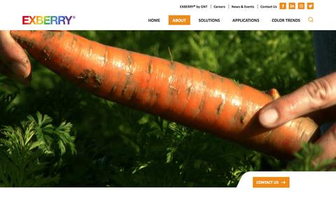 Screenshot of About Page exberry.com - EXBERRY® is the leading brand of Natural Food Coloring - captured Sept. 26, 2018