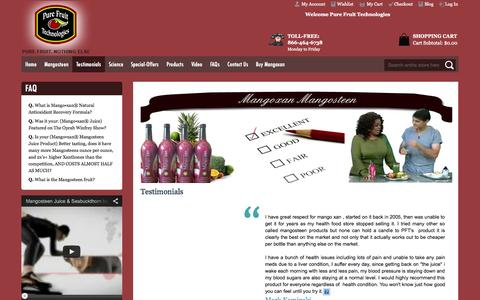 Screenshot of Testimonials Page purefruittechnologies.com - Testimonials - captured Oct. 3, 2014