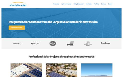 Screenshot of Home Page affordable-solar.com - Affordable Solar - Southwest Commercial & Residential Solar Installer - captured Sept. 13, 2018