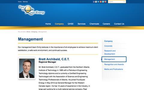 Screenshot of Team Page fourquest.com - Management Team - FourQuest Energy - captured Nov. 25, 2016