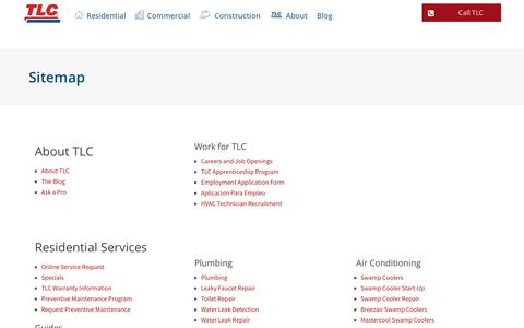 Screenshot of Site Map Page tlcplumbing.com - Sitemap - TLC Plumbing - captured Oct. 24, 2017