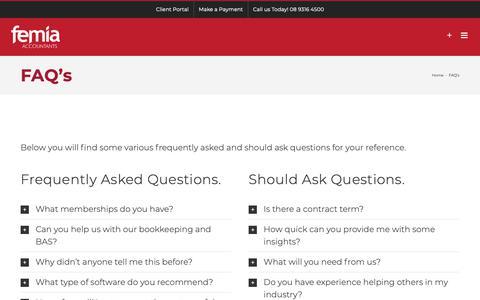Screenshot of FAQ Page femia-accountants.com.au - FAQ's - Femia Accountants - captured Oct. 10, 2018