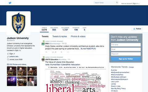 Screenshot of Twitter Page twitter.com - Judson University (@JudsonU) | Twitter - captured Oct. 23, 2014