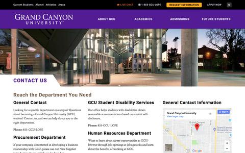 Screenshot of Contact Page gcu.edu - Enroll at Grand Canyon University | Contact Us | GCU - captured May 23, 2018