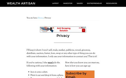 Screenshot of Privacy Page wealthartisan.com - Privacy - Wealth Artisan - captured Jan. 12, 2016