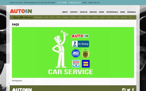 Screenshot of FAQ Page auto4n.com - Frequently Asked Questions | Auto4n Cincinnati - captured July 31, 2018