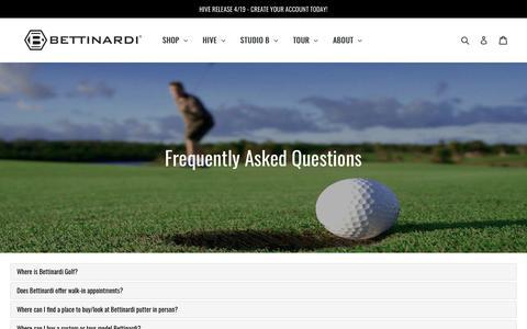 Screenshot of FAQ Page bettinardi.com - FAQs            – Studio B - captured April 16, 2018