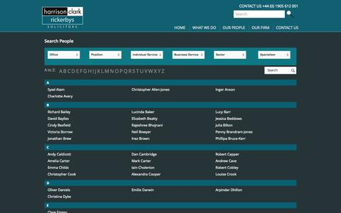 Screenshot of Team Page hcrlaw.com - Our People - Harrison Clark Rickerbys - captured Sept. 25, 2014