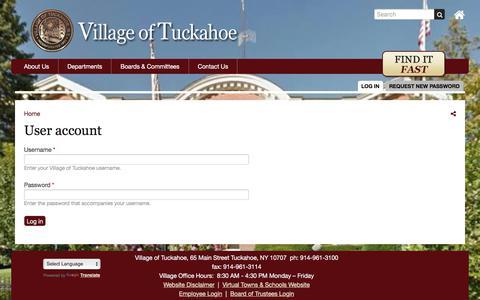 Screenshot of Login Page tuckahoe.com - User account | Village of Tuckahoe - captured Sept. 20, 2017