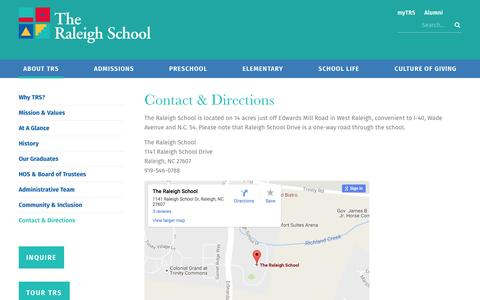Screenshot of Contact Page Maps & Directions Page raleighschool.org - Contact & Directions - The Raleigh School - captured Dec. 1, 2016