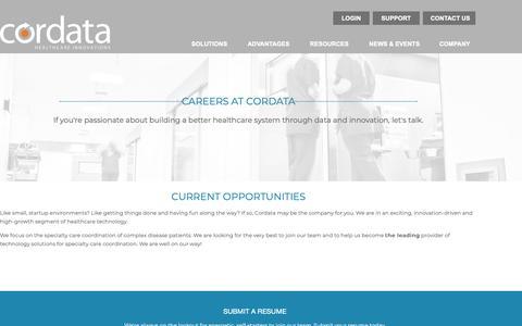 Screenshot of Jobs Page cordatahealth.com - Careers - captured Nov. 20, 2018
