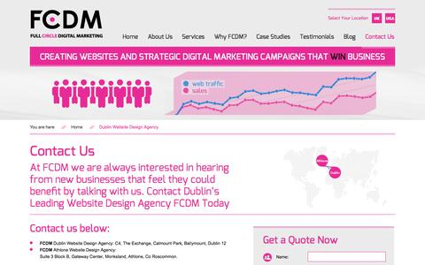Screenshot of Contact Page fcdm.ie - Dublin Website Design Agency FCDM - Contact Us - captured Oct. 5, 2014